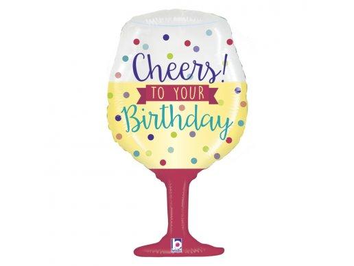 Ποτήρι Κρασιού Cheers To Your Birthday Μπαλόνι Supershape