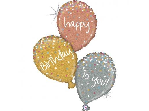 Τριπλό Supershape Μπαλόνι Για Γενέθλια- Happy Birthday Με Ολογραφικό Τύπωμα