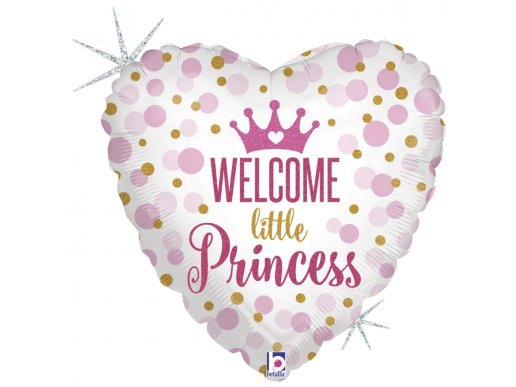 Welcome Little Princess Heart Holographic Print Balloon Foil