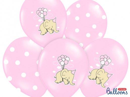 Ροζ Ελεφαντάκι και Πουά Μπαλόνια Λάτεξ (6τμχ)