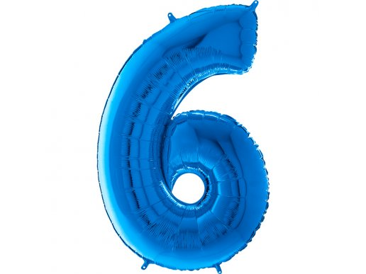 Supershape Balloon Number 6 Blue (100cm)