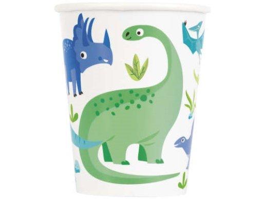 Μπλε και Πράσινοι Δεινόσαυροι Ποτήρια Χάρτινα (8τμχ)