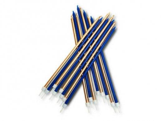 Μπλε και Χρυσό Μακρόστενα Κεριά για Τούρτα (16τμχ)