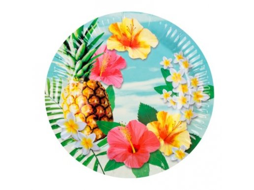 Παράδεισος με Ανανά Μεγάλα Χάρτινα Πιάτα (6τμχ)