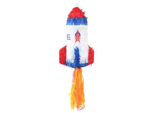 Πινιάτα Πύραυλος σε Λευκό, Μπλε και Κόκκινο Χρώμα