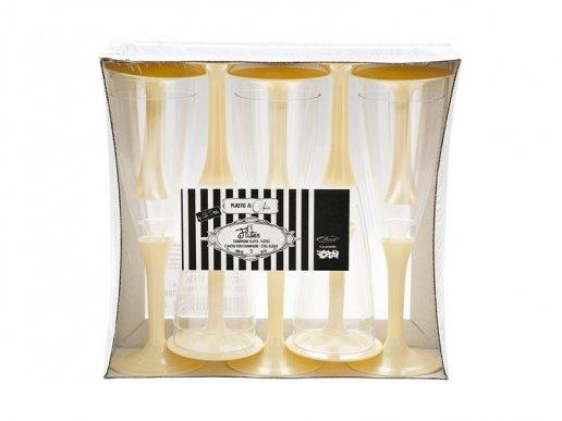 Ποτήρια Πλαστικά Σαμπάνιας Διάφανα με Ιβουάρ Βάση (10τμχ)