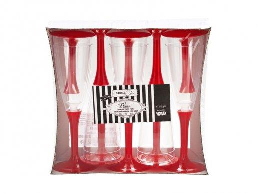Ποτήρια Πλαστικά Σαμπάνιας Διάφανα με Κόκκινη Βάση (10τμχ)