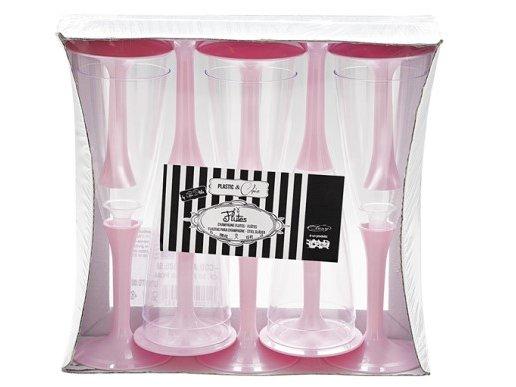 Ποτήρια Πλαστικά Σαμπάνιας Διάφανα με Ροζ Βάση (10τμχ)
