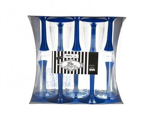 Ποτήρια Πλαστικά Σαμπάνιας Διάφανα με Μπλε Βάση (10τμχ)