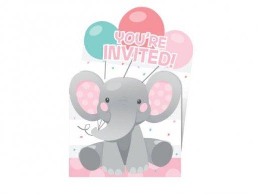 Κορίτσι Ελεφαντάκι Προσκλήσεις για Πάρτυ (8τμχ)