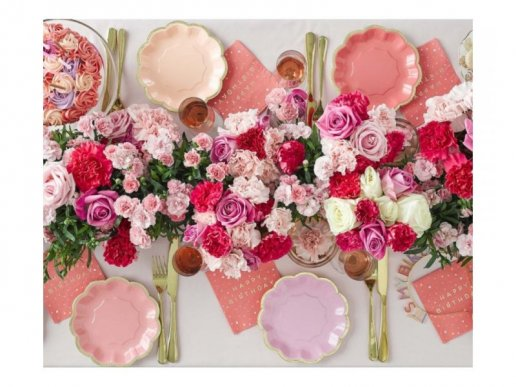 Rose Coral Beverage Napkins with Gold Foiled Happy Birthday and Colorful Splashes (16pcs)