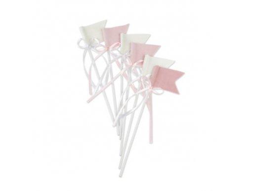 Ροζ και Άσπρα Διακοσμητικά Στικς με Βελούδινα Σημαιάκια (6τμχ)