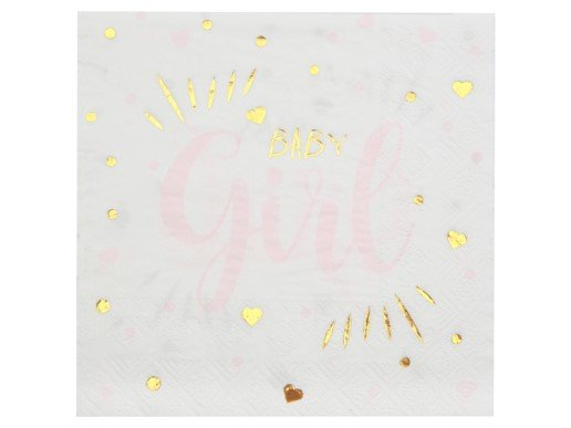 Ροζ και Χρυσό Baby Girl Χαρτοπετσέτες (20τμχ)