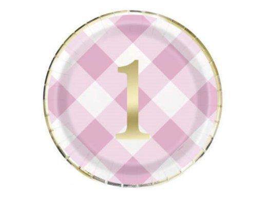 Ροζ Καρό Μεγάλα Χάρτινα Πιάτα για Πρώτα Γενέθλια (8τμχ)