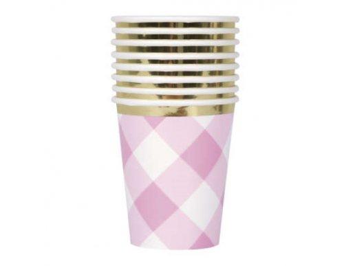 Ροζ Καρό Ποτήρια Χάρτινα (8τμχ)