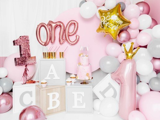 Pastel Pink Supershape Balloon Number 1 with Gold Crown (90cm)