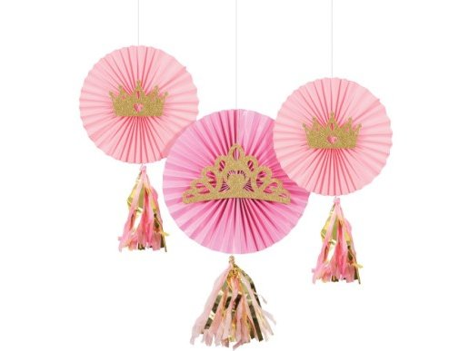 Pink Princess Hanging Fans with Tassels (3pcs)