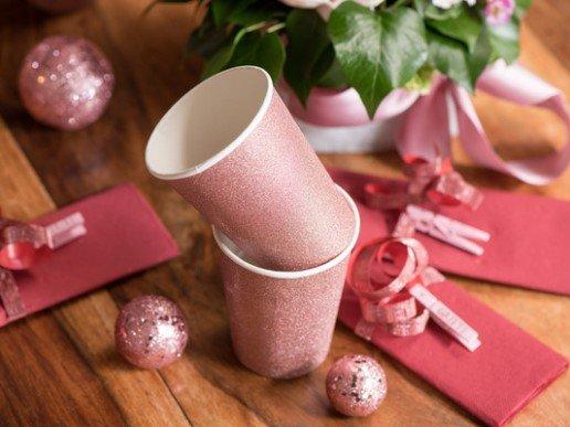 Ροζ Χρυσά Γκλιτεράτα Ποτήρια Χάρτινα (10τμχ)