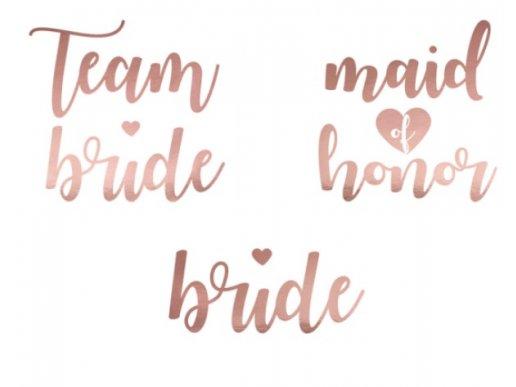 Team Bride Rose Gold Tattoos (12pcs)