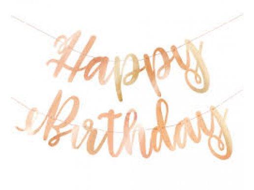 Ροζ Χρυσή Γιρλάντα Happy Birthday Διακόσμηση Για Πάρτυ Γενεθλίων