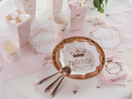 Ροζ Χρυσή Πριγίπισσα Μεγάλα Χάρτινα Πιάτα (10τμχ)