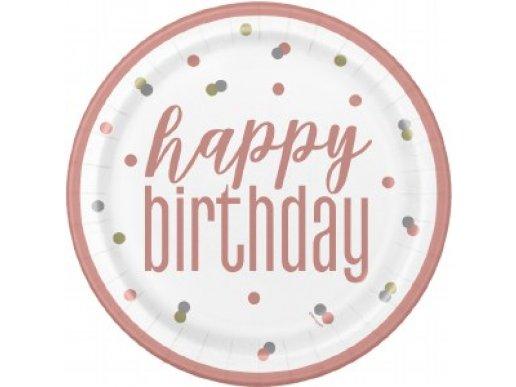 Ροζ Χρυσό Με Πουά Μεγάλα Πιάτα Χάρτινα Για Γενέθλια (8τμχ)