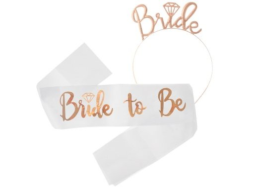 Rose Gold Bride to Be Kit with Headband and Sash (2pcs)