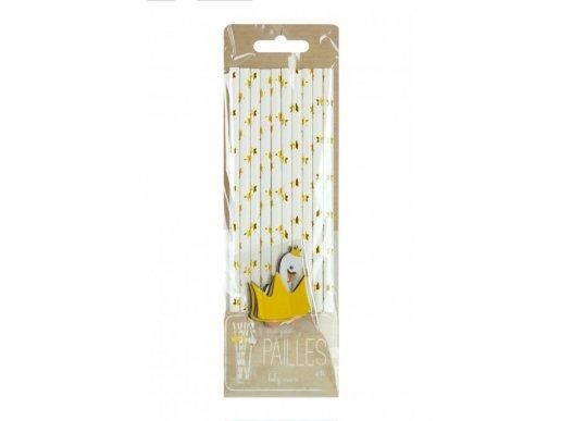 Swan White Paper Straws with Stars 10/pcs
