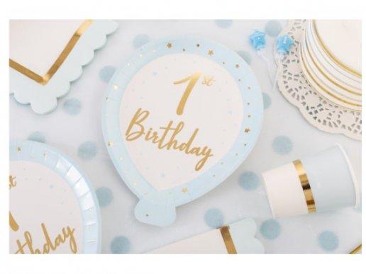 Γαλάζια Πιάτα σε Σχήμα Μπαλόνι για Πρώτα Γενέθλια (8τμχ)