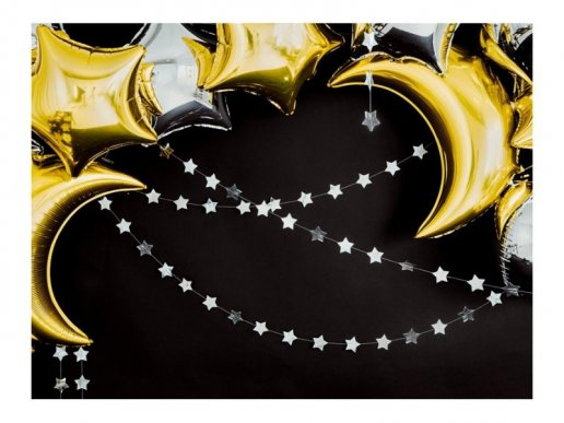 Silver Stars Garland 3m