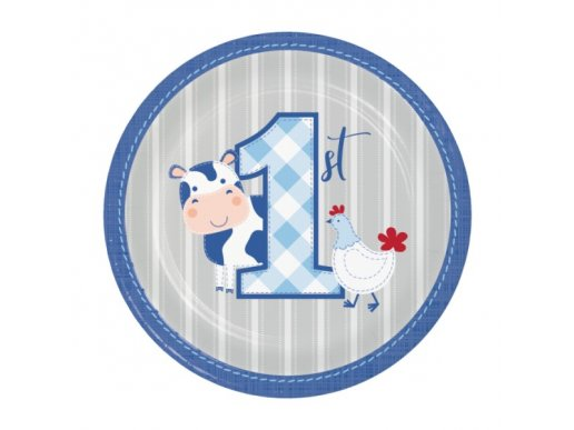 Farm Animals Blue Small Paper Plates (8pcs)