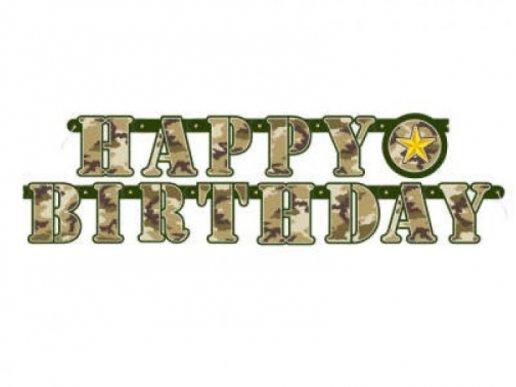 Military Happy Birthday Garland (1,6m)