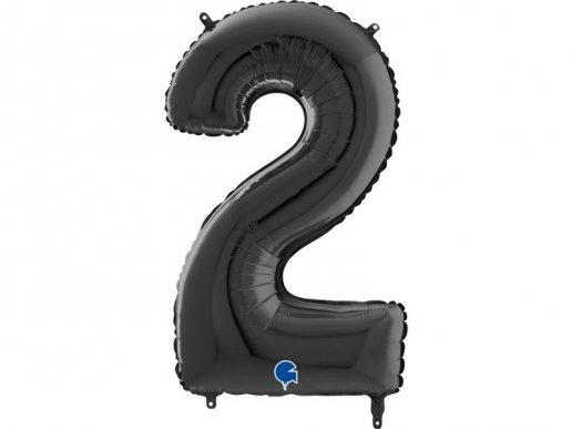 Supershape Μαύρο Μπαλόνι Αριθμός 2 (100εκ)