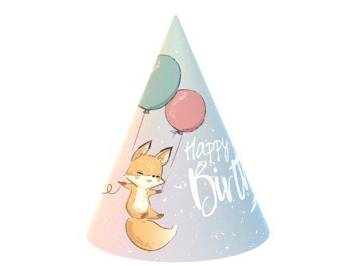 Happy Fox Party Hats (6pcs)