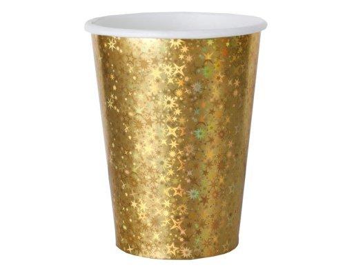 Χρυσά Ποτήρια Χάρτινα με Ολογραφικό Τύπωμα (10τμχ)