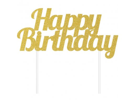 Χρυσό Με Γκλίτερ Happy Birthday Αξεσουάρ Για Τούρτα