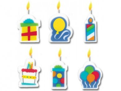 Birthday Cake Molded Candles (6pcs)