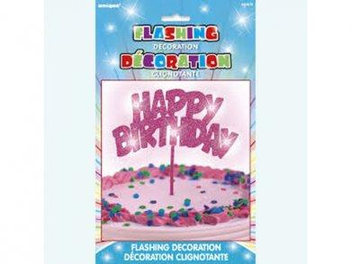 Fuchsia Flashing Happy Birthday Cake Topper