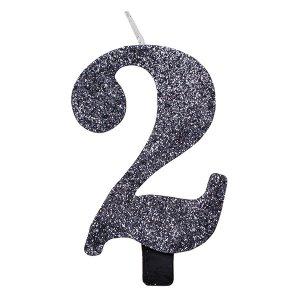 2 Αριθμός Δύο Μαύρο Με Γκλίτερ Κερί Για Τούρτα Γενεθλίων