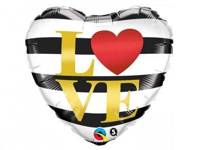 White and Black Stripes Heart Shaped Foil Balloon (45cm)