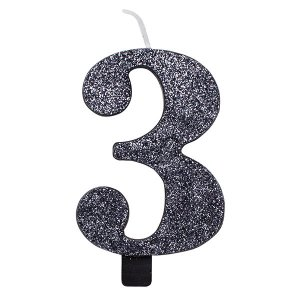 3 Number Three Black With Glitter Birthday Cake Candle