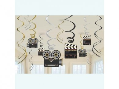 Hollywood Cameras Swirl Decorations (12pcs)