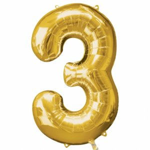 Supershape Balloon Number 3 Gold (100cm)