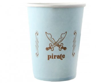 Pale Blue Pirate Paper Cups (6pcs)