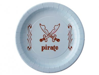 Pale Blue Pirate Large Paper Plates (6pcs)