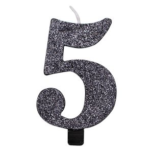 5 Number Five Black With Glitter Birthday Cake Candle
