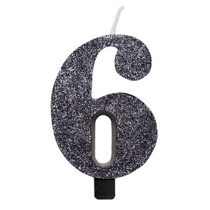 6 Number Six Black With Glitter Birthday Cake Candle