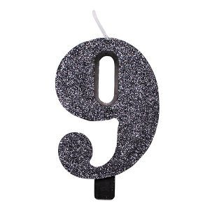 9 Number Nine Black With Glitter Birthday Cake Candle