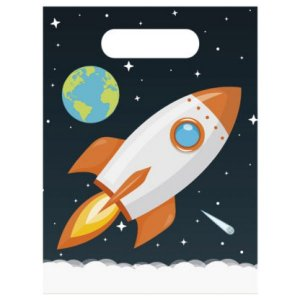 Outer Space Plastic Loot Bags 6/pcs