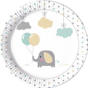 Baby Elephant Paper Plates (8pcs)